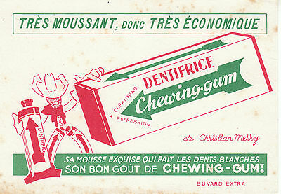 Buvard vintage dentifrice chewing-gum Christian Merry