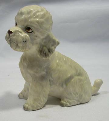 Vintage Napco Poodle Dog Figurine Figure White with Gray Highlights 9051