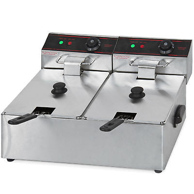 5000W 12 Liter Electric Countertop Deep Fryer Dual Tank 6 Commercial Restaurant