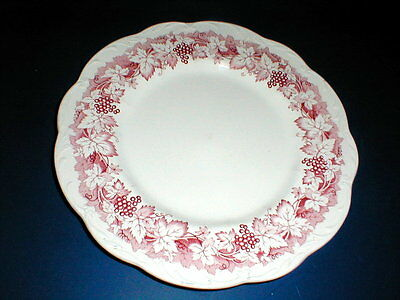 "J G Meakin England Red/Pink VINE 10 1/8"" Dinner Plate"