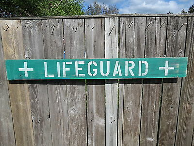 48 Inch Wood Hand Painted Lifeguard Sign Nautical Seafood (#s469)