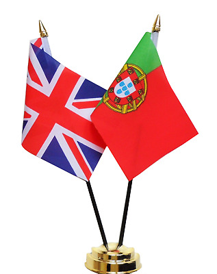 United Kingdom & Portugal Double Friendship Table Flag Set