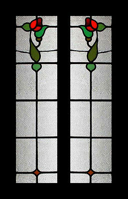 Art Nouveau Rosebud Pair Stained Glass Windows FREE Worldwide Insured Shipping