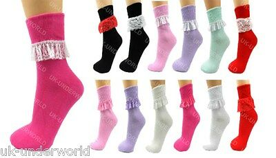 1 Pair Girls Ladies Frill Lace Ankle Coloured Socks Childrens School Summerwear
