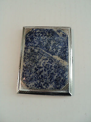 Unusual Antique Sterling Silver Lapis Stone Inlaid Cigarette Case