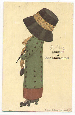 """Lady w/Funny Huge Hat """"Gertie at Scarborough"""" Art UNSigned old Postcard"""