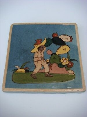"Old vintage Mexican Tlaquepaque pottery tile baby-faced man 4 3/4"" x 4 3/4"""