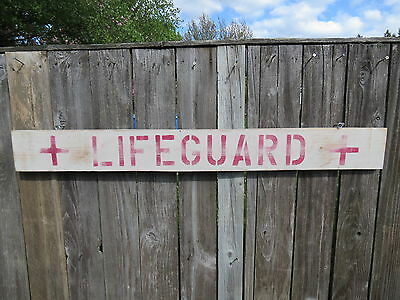 48 Inch Wood Hand Painted Lifeguard Sign Nautical Seafood (#S477)