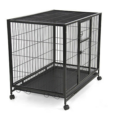 "43"" Heavy Duty Metal Dog Cage Kennel w Wheels Portable Pet Puppy Carrier Crate"