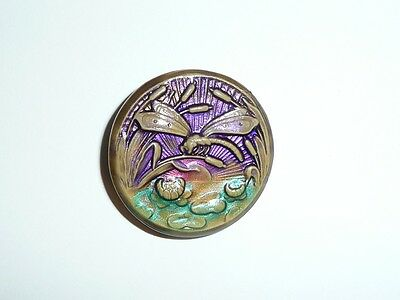 """Beautiful Hand Painted Lt.Olive Colored Dragonfly Art Stone Shank Button  1-3/4"""""""