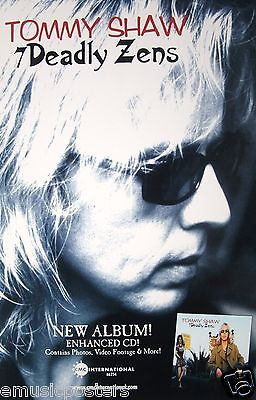 "TOMMY SHAW ""7 DEADLY ZENS"" U.S. PROMO POSTER - Styx, Damn Yankees, Classic Rock"