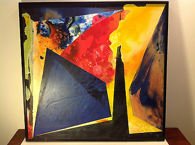 Jackie Battenfield 1991 Original Abstract Acrylic 'Aspects Of Geometry' 44 X 46
