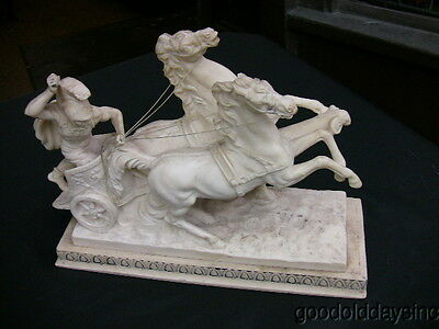 Large Chariot Sculpture by A. Santini - Trojan Man & Horse Team