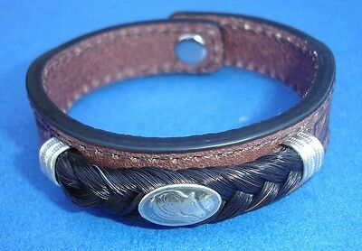 Western Jewelry Hand Tooled Leather Equine Concho Bracelet W/SS Caps Size Small