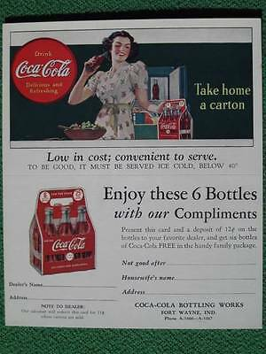 "1930's Vintage Coca-Cola Coupon Card for 6 Free Bottles ""Take Home a Carton"" WOW"