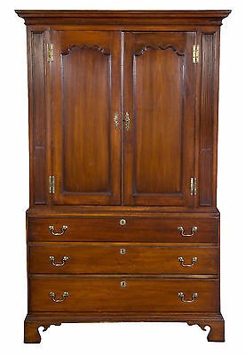 SWC-Cherry Chippendale Linen Press with Solid Figured Panels, New Jersey, c.1780