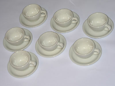 7 Vintage 1945-48 Carr China Co Heavy Duty Restaurant Coffee Cups & Saucers! Usa