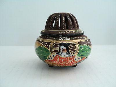 ANTIQUE JAPANESE PORCELAIN ENAMELED INCENSE BURNER / CENSER, with SEATED WOMAN