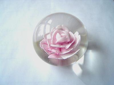 Paperweight Glass Rose -  Pink