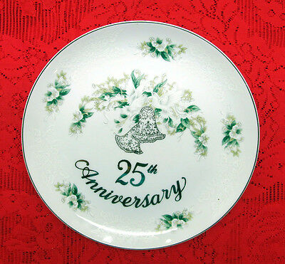 """VINTAGE LEFTON CHINA 25th SILVER WEDDING ANNIVERSARY 10 3/4"""" PLATE BELLS DOVES"""