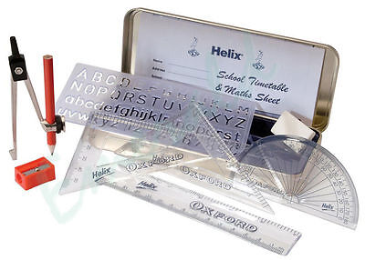 Helix Oxford Maths, Technical Geometry Set With Tin Case - Same Day Dispatch