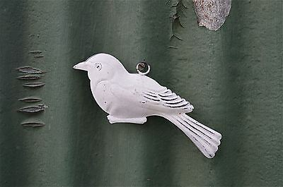 Lovely Vintage Style Patinated White Tin Hanging Bird Ornament Tree Hanger