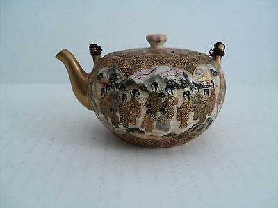 "Nice Antique Japanese Miniature 2.5"" Satsuma Teapot/ Sake Pot, Signed"