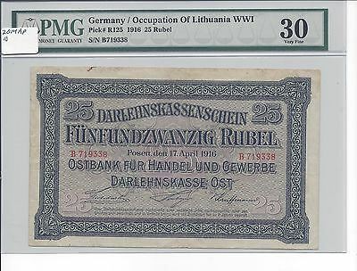 Germany Occupation Lithuania WW1 1916 25 Rubel Pick R125 PMG 30  VF Scarce Grade