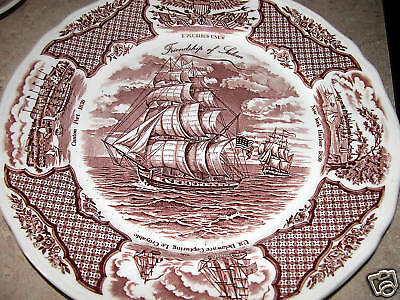 2 dinner plates Staffordshire fair winds: Alfred Meakin