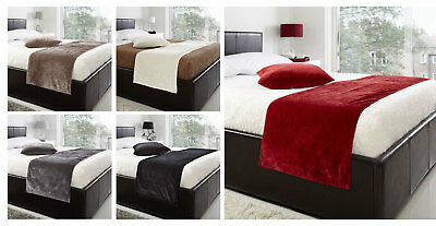 """Soft Luxury Velvet Bed Runner - 19"""" X 78"""" - Plain Bed Throw With Piped Edge"""