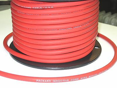 1' RED Packard spark plug wire 7mm inductive core silicone electronic ignition
