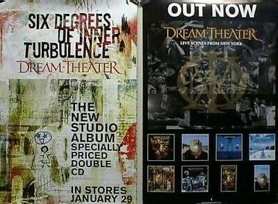 DREAM THEATER 2001 6 degrees/NYC 2 sided promotional poster!~MINT condition~!