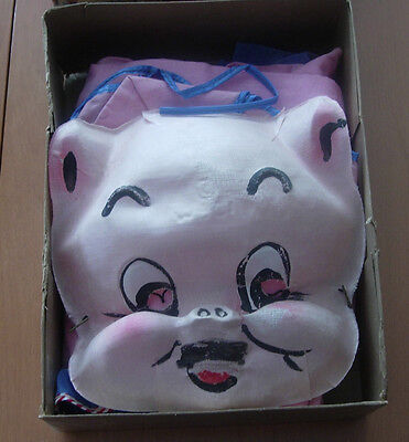 Porky Pig Halloween Costume  Collegeville  Early Fabric Mask And Body Suit Boxed