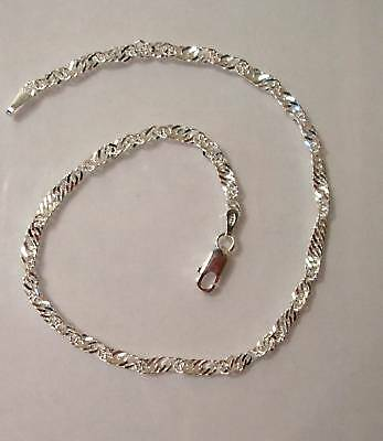 """925 Sterling Silver Singapore Solid Ankle Chain, Anklet Bracelet 10"""" SALE G1104"""