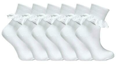 6 Pairs Childrens/Baby/Girls Extra Soft Frilly Lace Top Cotton Rich School Socks