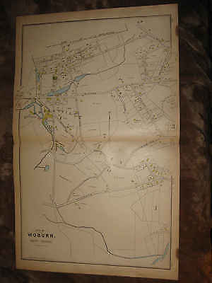 Antique 1889 Woburn West Area Cummingsville Middlesex County Massachusetts Map