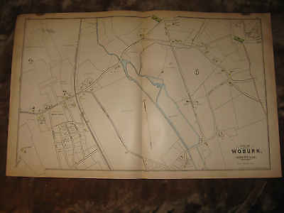 Antique 1889 Woburn Montvale Middlesex County Massachusetts Handcolored Map Nr