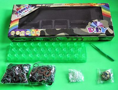 Army CAMO Loom Band Kit Box Board 600 Bands Hook 20 Clips 3 Charms FREE POST