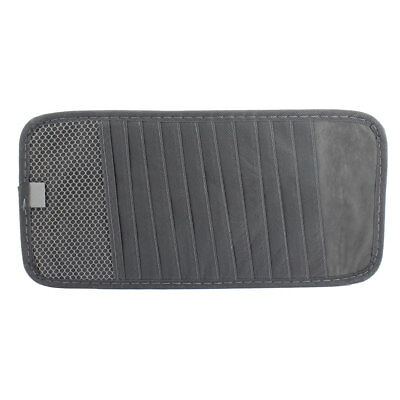Gray 12 Capability Elastic Band Visor CD Ticket Cards Storage Holder for Car