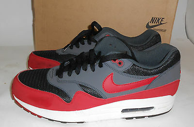 Nike 537383-061 Mens Air Max 1 Essential Black Gym Red Anthracite White 10.5