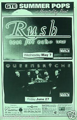 "Rush ""test For Echo Tour"" & Queensryche 1997 San Diego Concert Tour Poster"
