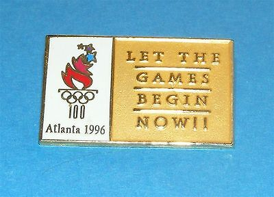 ATLANTA 1996 Olympic Collectible Logo Pin - Let the Games Begin Now