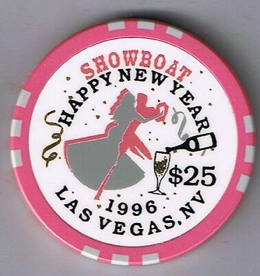 Showboat Hotel $25.00 Happy New Year 1996 Casino Chip Las Vegas Nevada