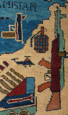 Vtg Afghanistan Tank Airplane Rifle War Small area Rug f