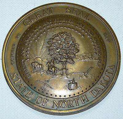 The Great Seal of The State of North Dakota Bronze Medal Western Wild West b9