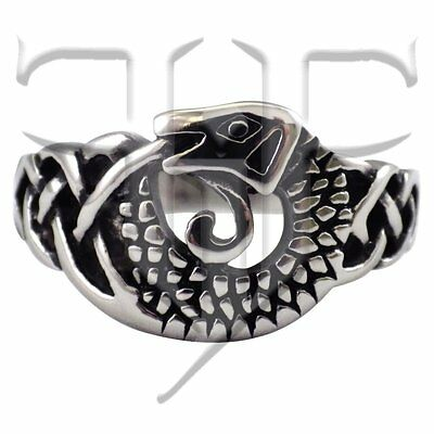 Stainless Steel Medieval Dragon Celtic Knot-Work Ring Size 6, 7, 8, 9, 10, 11 12