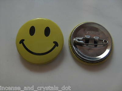 25mm SMILEY FACE Metal Badges 2 x pcs  FREE SHIPPING