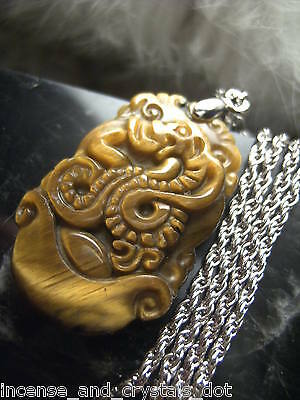 TIGER EYE Hand Carved Chinese Zodiac 35mm Pendant/Chain.Year Of The SNAKE
