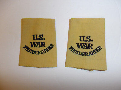 c0395 WW 2 U.S. War Photographer tan uniform shoulder tabs slip on