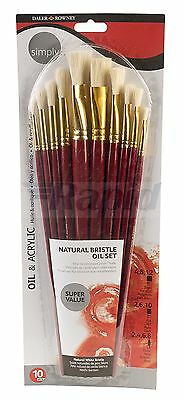 Daler Rowney Simply Oil & Acrylic Paint Brush Set (Pack of 10)